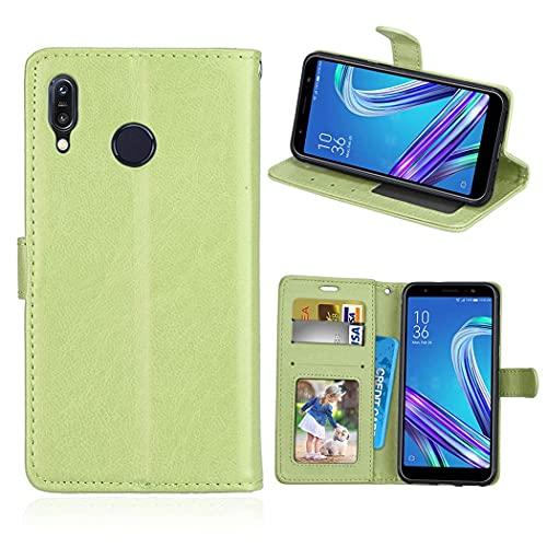 ShuiSu Funda con tapa para Asus Zenfone Max (M1) ZB555KL, cuero sintético de poliuretano suave de silicona con cierre magnético y función atril, bolsillos para tarjetas, color verde