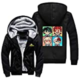 NIEWEI-YI Men's Casual Hooded Sweatshirts,My Hero Academia Chaqueta con Capucha y Cremallera para Hombre, Forro Polar,XL