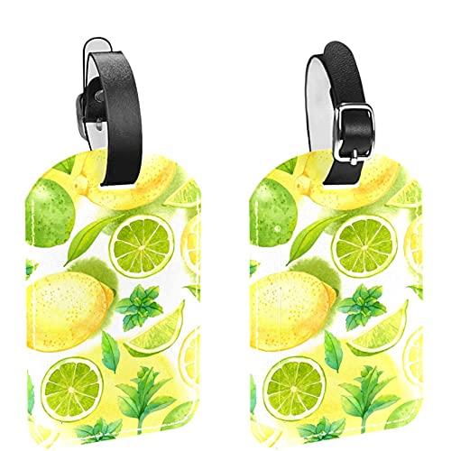 Frutta Giallo Limone Pattern 2 PCS bagagli Tag ID valigia di corsa Tags Etichette bagaglio per evitare la perdita di borse e valigie
