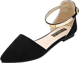 Jamron Femmes Bout Pointu Velours Ballerines Élégant D'Orsay Escarpin Plat Chaussures Habillées