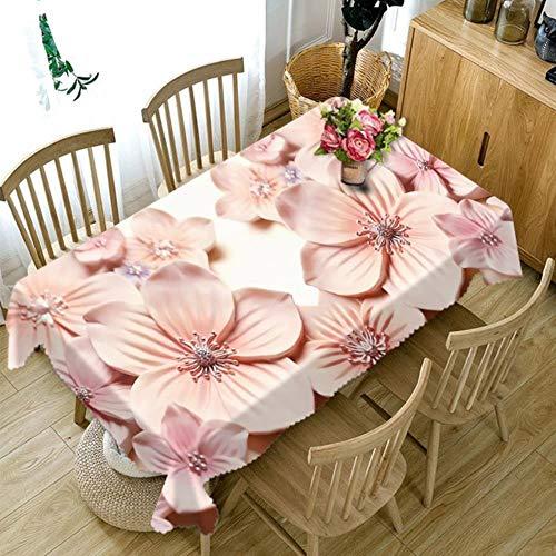 Gypsophila Mantel rectangular impreso – Mantel personalizado 3D clásico patrón loto impermeable tela gruesa rectangular y redonda mantel para boda, poliéster, B, 50 x 70 inch