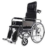 XWX Silla De Ruedas For Los Ancianos con Sentado, Plegable, Portátil Y Multifuncional A Mano Patinete For La Silla De Ruedas De Aleación De Aluminio De Movilidad Reducida