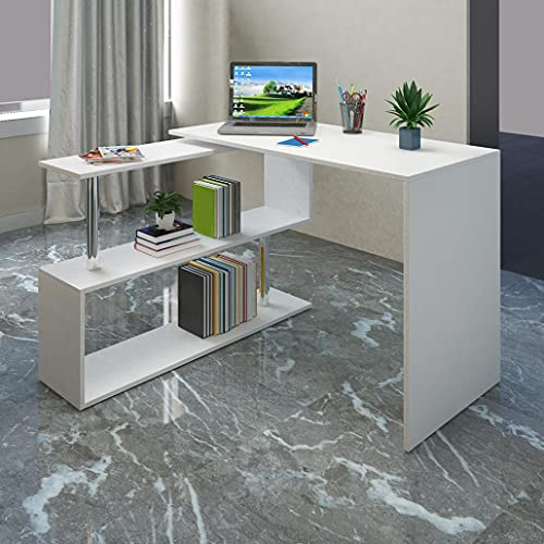 L-Shaped Computer Desk Limited Deal: HESASDG Minimalist Style L-Shaped Learning Computer Desk - with Shelf Storage Home Spiral Table White