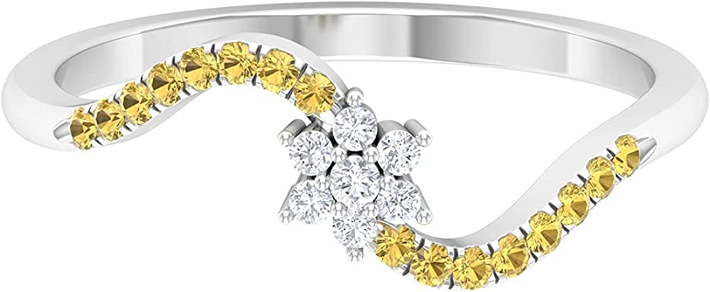 1/4 CT Floral Diamond and Citrine Promise Ring (AAA Quality),14K White Gold,Diamond,Size:US 3.00