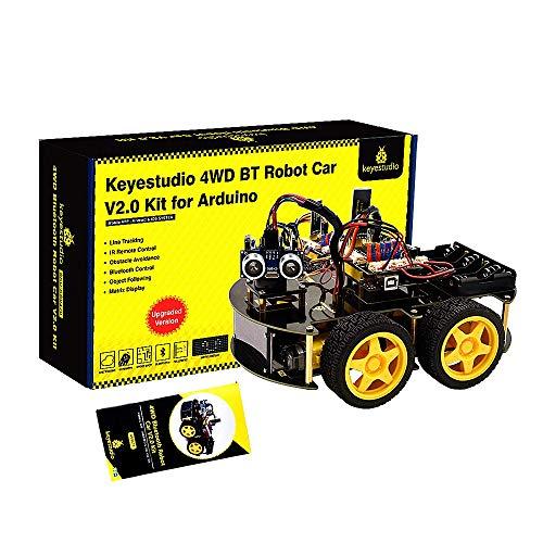 KEYESTUDIO Smart Robot Car Kit V3.0+ Kompatibel mit Arduino IDE Elektronik Baukasten mit Mikrocontroller, Line Tracking Modul, Ultraschallsensor, Bluetooth-Modul, Auto Roboter Spielzeug für Kinder