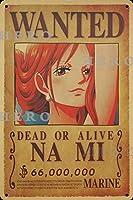 海賊アニメNa miナミ さびた錫のサインヴィンテージアルミニウムプラークアートポスター装飾面白い鉄の絵の個性安全標識警告バースクールカフェガレージの寝室に適しています
