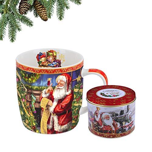 Carmani - Tazza In Porcellana Decorata Con Un Tema Di Natale Da Marcello Corti, 450Ml