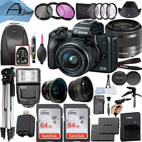 Canon EOS M50 Mirrorless Digital Vlogging Camera with EF-M 15-45mm is STM Zoom Lens + 2 Pack SanDisk 64GB Memory Card + Backpack + Tripod + Flash + A-Cell Accessory Bundle (Black)