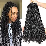 Leeven 6pcs Passion Twist Braiding Hair for Butterfly Locs Natural Black Water Wave Crochet Passion Twist Hair for Black Women 18 Inch Long Bohemian Braids Synthetic Crochet Hair 1B#