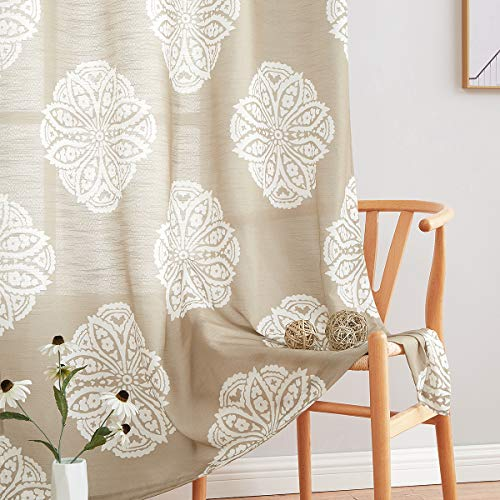 """Print Sheer Curtains for Living Room 72-inches Long Medallion Curtain Panels for Bedroom White Floral Drapes for Windows Taupe, 52"""" x 2 Panels, Grommet Top"""
