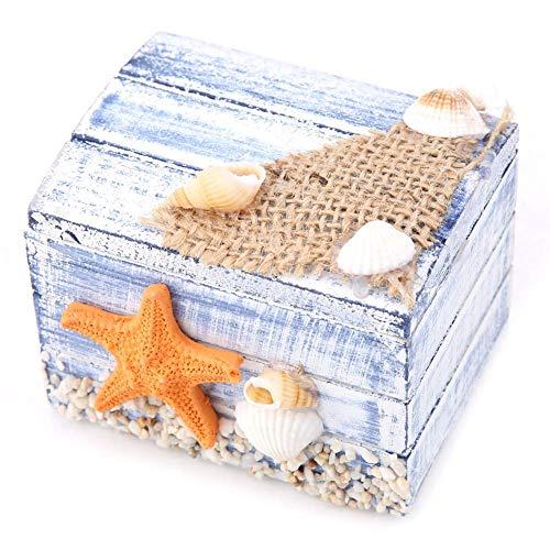 KEYREN Aufbewahrungsbox Holz Schatzkiste Mediterranen Stil Schmuck Pralinenschachtel Tragbare Kleine Aufbewahrungskoffer Organizer (Seestern)