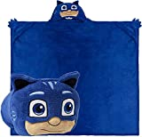 Comfy Critters Stuffed Animal Blanket – PJ Masks – Kids Huggable Pillow and Blanket Perfect for Pretend Play, Travel, nap time. (Catboy)