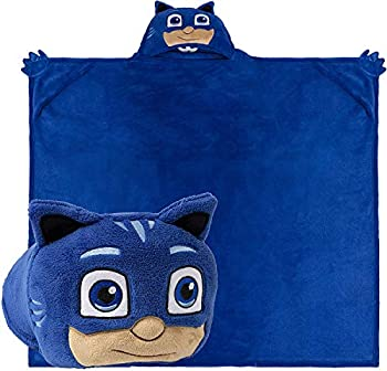 Comfy Critters Stuffed Animal Blanket – PJ Masks – Kids Huggable Pillow and Blanket Perfect for Pretend Play Travel nap time  Catboy