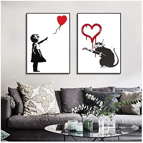 Canvas Banksy Graffiti Kunst Schilderij Meisje Met Rode Ballon Schilderij Zwart-wit Wall Art Poster Decor Foto 60x80cm (23.6x31.5 inch) x2 Geen Frame