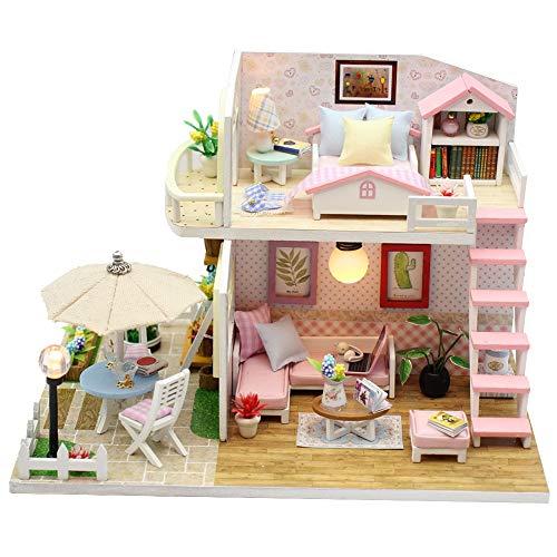 Zerodis- Casa de la Princesa cabaña ensamblada a Mano, casa de muñecas Hecha a Mano en Miniatura de Madera Muebles de Dormitorio de artesanía casa de muñecas para niños