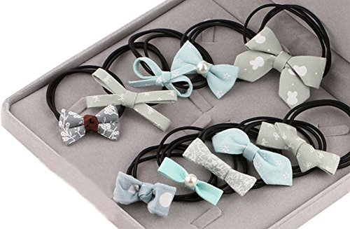 10pcs Belle bowknot Filles Femmes élastiques Porte-queue de cheval cravate cheveux, vert