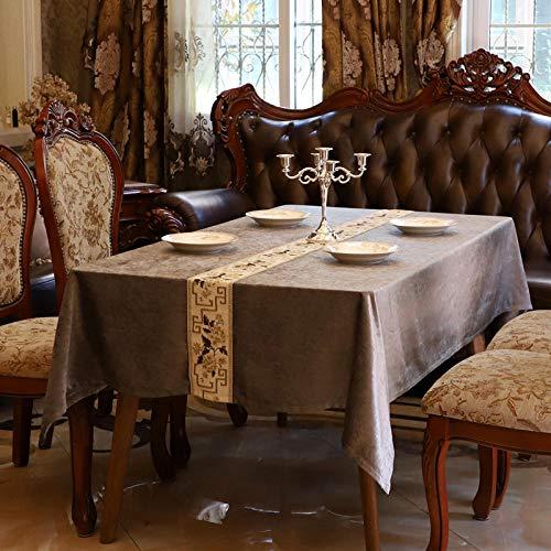 Kuingbhn Mantel para Mesa de Cocina o Salón Hojas Rectangular Suave y Resistente al Desgaste Lavable Diseño de Comedor decoración del Hogar Gris 160 × 260cm