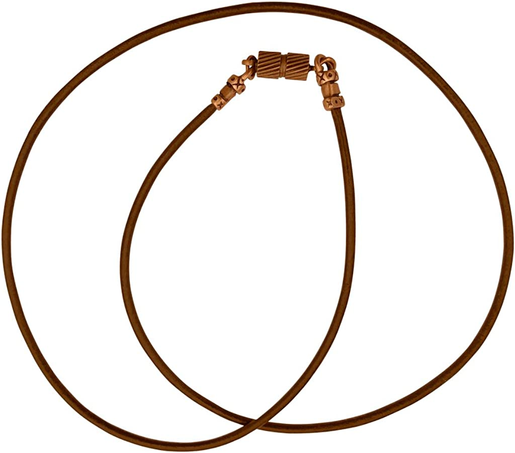 DragonWeave Antique Copper 1.8mm Fine Brown Leather Cord Necklace with Magnetic Clasp