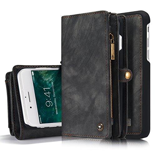 iPhone 8 Plus/ 7 Plus caso, savyou desmontable magnética cartera funda de piel con tapa tarjetero función de atril con extraíble delgado duro PC TPU carcasa trasera para iPhone 7 Plus