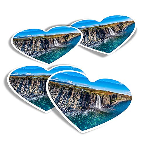 Vinyl Heart Stickers (Set of 4) - Kilt Rock Waterfall Isle of Skye Scotland Fun Decals for Laptops,Tablets,Luggage,Scrap Booking,Fridges #45469
