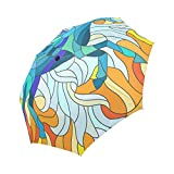 Windproof Travel Folding Umbrella Auto Open and Close for Women Men Stained Glass Horse, Blue