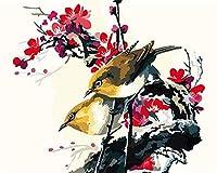 NC56 大人と子供用デジタル絵画DIY油絵ギフトセット印刷済みキャンバスアーティスト家の装飾-鳥、動物、花