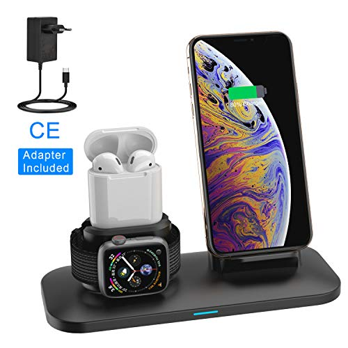 Supporto Caricabatterie Wireless 3 in 1 Caricatore Stand per Apple Watch, Qi wireless caricatore supporto di ricarica wireless docking station per Airpods iPhone X/8 Plus/XS MAX/XR Iwatch 4/3/2/1