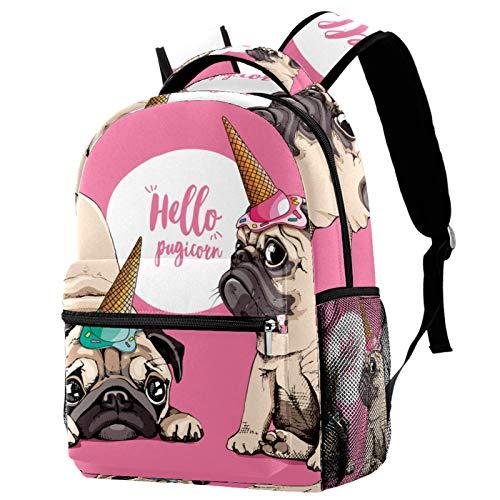 Mochila de viaje con diseño de perro Pugicorn Hello School Bag para mujeres, adolescentes, niñas y niños
