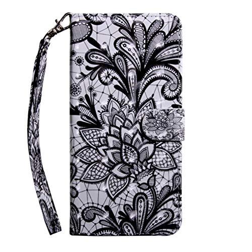 für Huawei Y6p Hülle, Handyhülle Huawei Y6p Flip Case Cover PU Lederhülle Schutzhülle Magnetverschluss Ledertasche mit Stander Function Brieftasche Tasche Kompatibel mit Huawei Y6p Schwarze Spitze