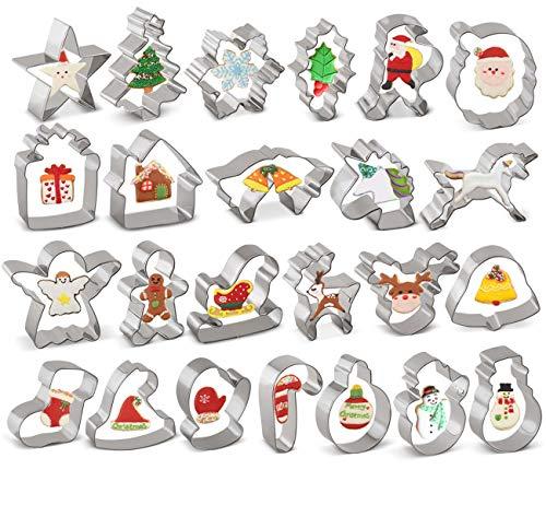 ilauke 24tlg. Ausstecher Ausstechformen Weihnachtsausstechformen Set aus Edelstahl-Ausstecher Weihnachten für Keks,Backen Fondant Plätzchen,Tortendekorationen