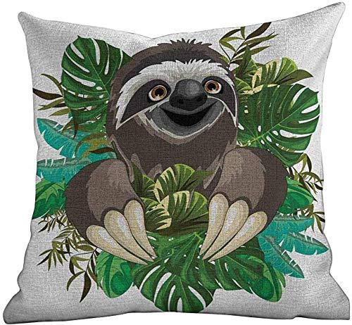 PotteLove standaard kussensloop luiaard, cartoon zoogdier op tropische jungle met groene banaan bladeren schattig karakter, chocolade groen ivoor, vierkante kussensloop gooien kussen door kussen cover 16