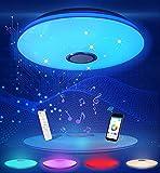 DUTISON Lámpara de Techo LED don Altavoz Bluetooth, RGBW Lamparas de Techo Modernas, Plafones paraTecho, Control Remoto/Control de APP, para Dormitorio, Sala de estar, Baño, Comedor, Pasillo