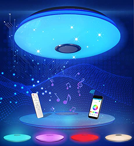 DUTISON 36W RGB Plafoniera LED con Altoparlante Bluetooth, Lampada da Soffitto LED Dimmerabile, con Telecomando e Controllo APP, per Cameretta da Letto, Bagno, Soggiorno, Cucina