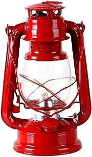 オイルランタン 灯油ランプ キャンプライト 色付き ホヤガラス パラフィン クラシカル レトロ レジャー 軽い 持ち運び アウトドア 装飾物 (赤)