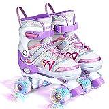 Roller Skates for Kids, Shine Skates 4 Size Adjustable Roller Skates with Light up Wheels for Girls, Teens, Outdoor Rollerskates for Beginners & Advanced | Purple, M - 13C-3Y, (Medium, Purple)