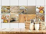 GRAZDesign Fliesenaufkleber zum Aufkleben Muscheln Sand und Strand Bad | Fliesenbildern zum überkleben | 10 Motive | Selbstklebende Folie für Badezimmer (20x20cm // Set 10 Stück) -