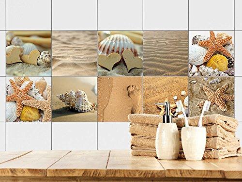 GRAZDesign Fliesenaufkleber Bad - Fliesen zum Aufkleben Muscheln Sand und Strand | Fliesen mit Fliesenbildern überkleben | 10 Motive | Selbstklebende Folie für Badezimmer (15x15cm // Set 40 Stück)