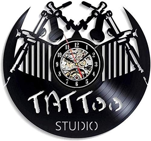 Reloj de Pared de Vinilo Estudio de Tatuajes Disco de Vinilo Pared Clark Diseño Moderno Salón de Tatuajes Tienda Letrero de Pared Decoración Reloj de Vinilo Reloj de Pared Decoración del hogar