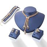 ONEBUYONE 4 Piezas de joyería de Cristal, Pendientes de Collar Nupcial Anillo Conjunto Pulsera Nupcial Partido joyería Conjunto Mujer Casada Accesorios