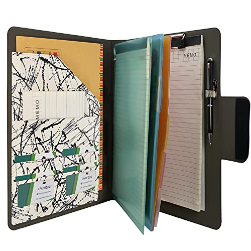 Padfolio Ring Binder with Color File Folders, 4-Ring Binder Portfolio A4 Binder Padfolio Organizer Document Case (Black and White)