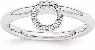 Rhodium Plated Sterling Silver Diamond 4.4mm Halo Stackable Ring (.08 Ctw, I3 Clarity, H-I Color)