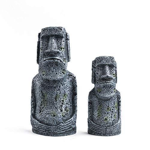 Magiin 1 juego de decoración de acuario con cabeza de piedra de la Isla de Pascua, accesorios para decoración de pecera