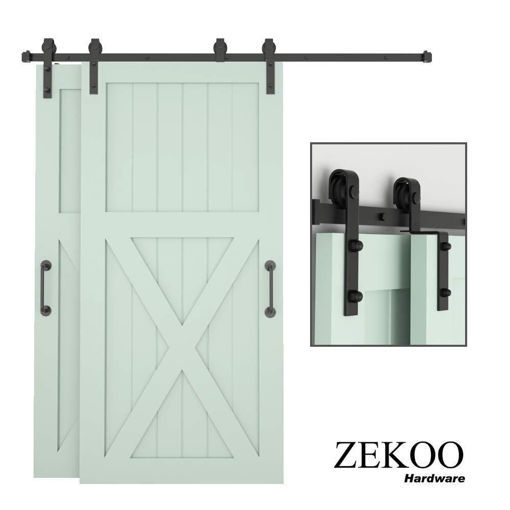 ZEKOO kit de herramientas para puerta corredera de granero, una sola pista, doble puerta de madera, rodillo de pista plana, techo bajo: Amazon.es: Bricolaje y herramientas