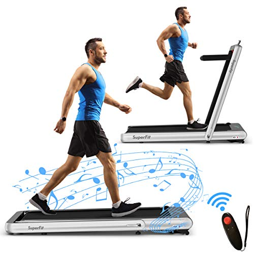 Goplus 2 in 1 Folding Treadmill with Alexa Home, 4.75HP Under Desk Electric Treadmill with APP Control, LED Touch Screen, Bluetooth Speaker and Remote Control, Walking Jogging for Home Office Use