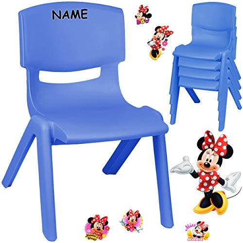 alles-meine.de GmbH Kinderstuhl / Stuhl - Motivwahl - blau + Sticker - Disney Minnie Mouse - inkl. Name - Plastik - bis 100 kg belastbar / kippsicher - für INNEN & AUßEN - 0 - 99..
