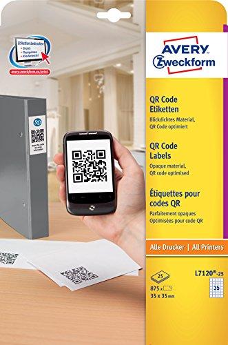 AVERY Zweckform L7120-25 QR code-etiketten 875 Stuk, 35 x 35 mm wit