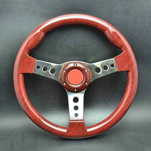 wotefusi 340Mm Sport Racing Volant Plat Alliage Abs Corne Bouton Universel Rouge