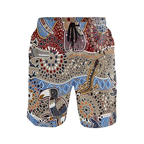 Troncos de natación para Hombre Coloridos Animales australianos Troncos de natación Koala étnicos Pantalones Cortos para Caminar sin Arrugas para Entrenamiento SPA
