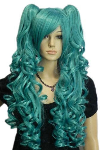 Qiyun Lolita Bleu 2 Clip-On Ponytail Longue Ondule Cosplay Synthetique Cheveux Complete Perruque