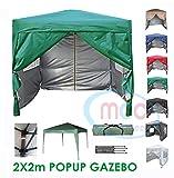 MCC Gazebo Plegable Impermeable del Gazebo 2x2m, Tienda del pabellón con la Capa Protectora de Plata Incluye Paredes Laterales [WS] (Color Blanco) (Verde)